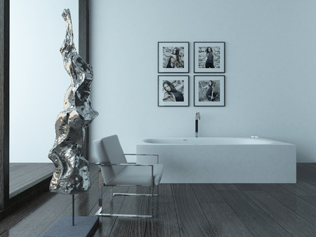 Modern bathroom interior with bathub and woman portrait on wall photo
