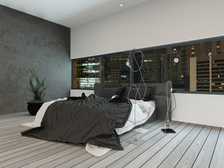 Picture of modern bedroom interior at night photo