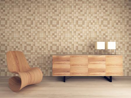 Foto van houten lounge stoel tegen mozaïek patroon muur met dressoir Stockfoto