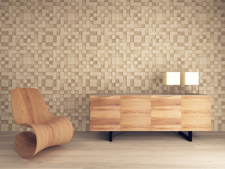 seating furniture: Picture of wooden lounge chair against mosaic pattern wall with sideboard Stock Photo