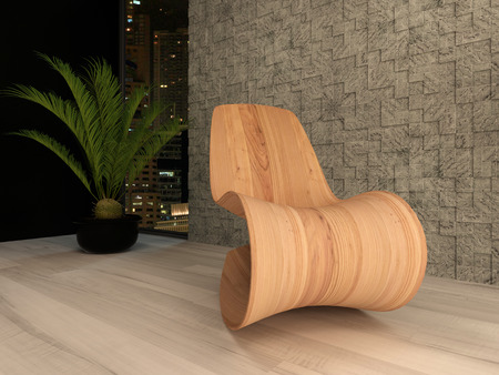 houseplant: Picture of wooden lounge chair against mosaic wall with houseplant Stock Photo