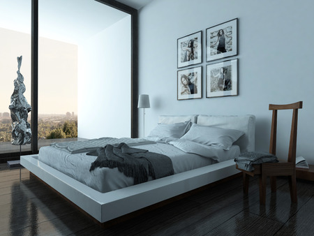 dwelling: Nice bedroom interior with modern furniture and cozy bed