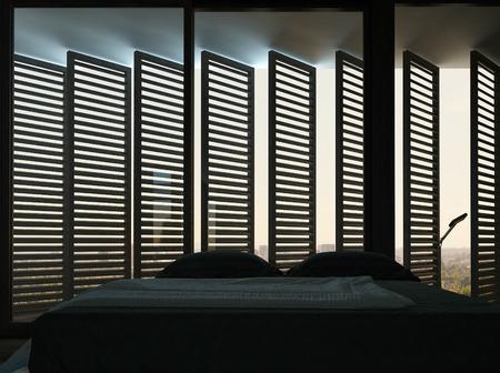 bedsheets: Picture of dark black bedroom interior with amazing window