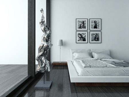 render residence: Nice bedroom interior with modern furniture and cozy bed