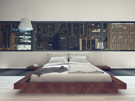 bedsheets: Nice bedroom interior with modern furniture and cozy bed