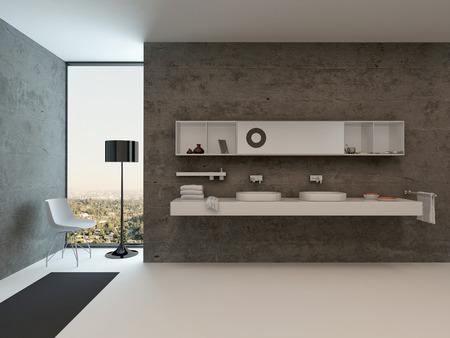 콘크리트 벽에 세면대와 현대적인 욕실 인테리어의 그림