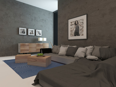 Picture of modern living room interior with concrete walls photo