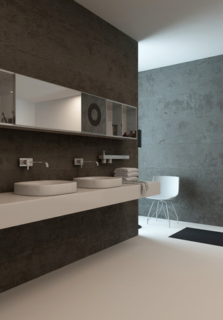 Picture of modern bathroom interior with wash basin against concrete wall photo