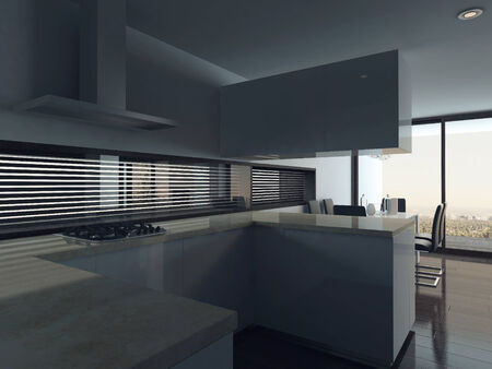 Picture of modern kitchen interior with dining table setting photo