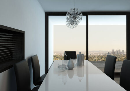 Picture of white dining table against floor to ceiling window photo