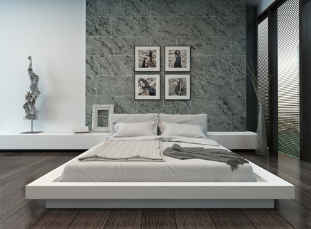 case moderne: Immagine di interni moderni camera da letto con muro di pietra