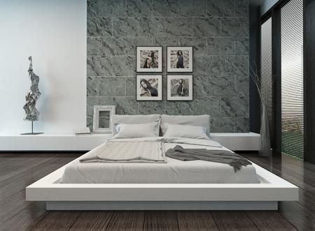 chambre � coucher: Photo de l'int�rieur de la chambre moderne avec mur de pierre