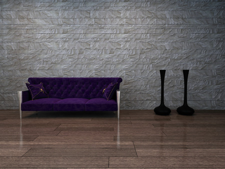 Picture of baroque style violet can pee against stone wall photo