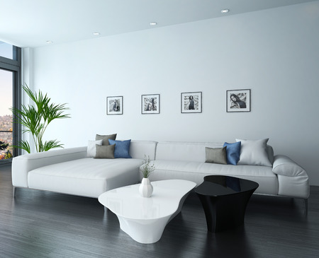 Living Room Interior With White Couch And Portraits On Wall Stock Photo    28685632