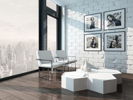 Minimalist Living Room Interior With White Brick Wall And Chairs Photo