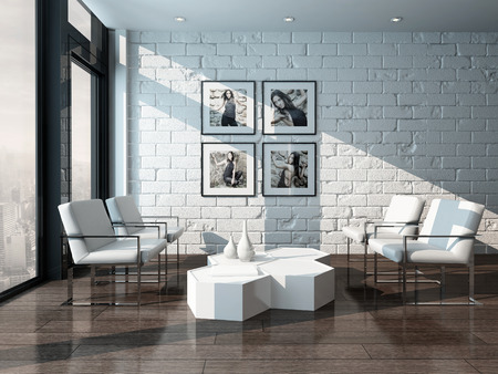 Picture of Minimalist living room interior with white brick wall and chairs photo