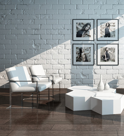 minimalist: Picture of Minimalist living room interior with white brick wall and chairs Stock Photo