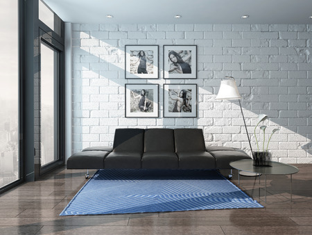 Nice living room interior with couch and brick wall photo