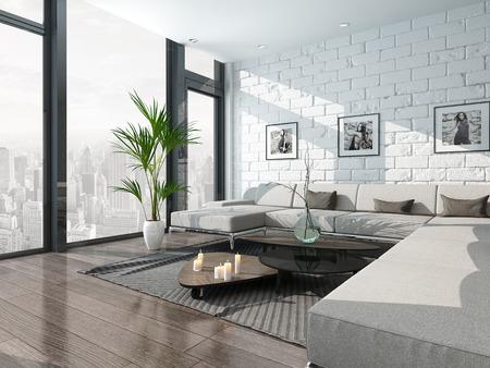 mattoncini: Bel salotto interno con divano e muro di mattoni Archivio Fotografico