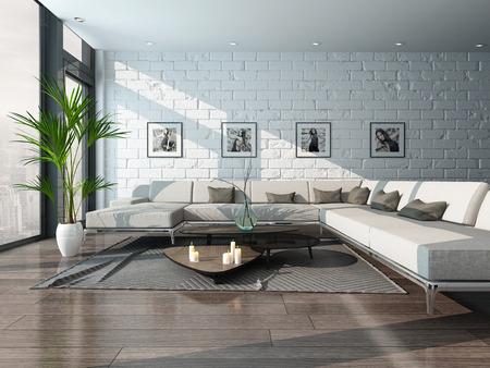 ソファとレンガの壁とリビング ルームのインテリアの写真