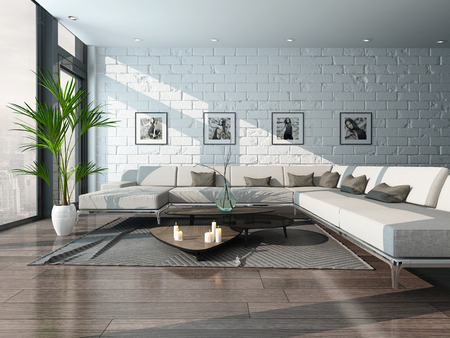 Picture of living room interior with couch and brick wall Stock Photo