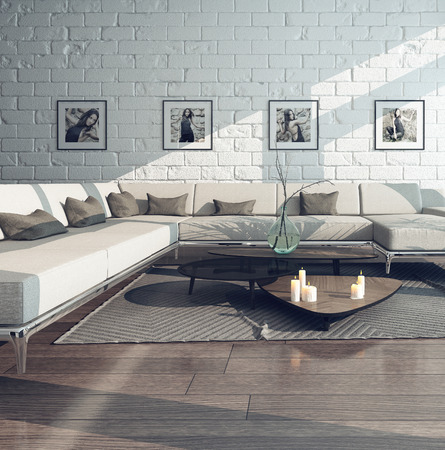 condominium: Picture of living room interior with couch and brick wall Stock Photo