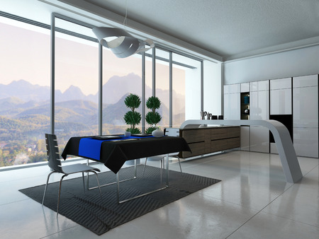 Picture of Modern kitchen interior with dining table and blue tablecloth photo