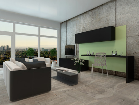 tv wall: Light airy modern apartment living room interior with a floor to ceiling view window and comfortable lounge suite and wall mounted television in neutral colors Stock Photo
