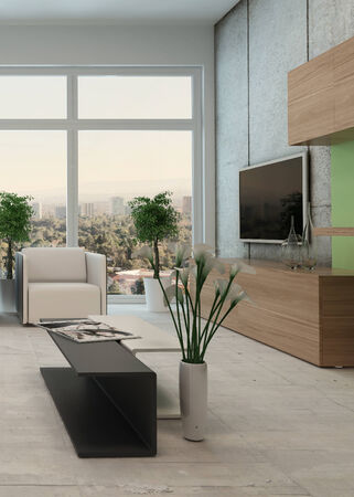 airy: Light airy modern apartment living room interior with a floor to ceiling view window and comfortable lounge suite and wall mounted television in neutral colors Stock Photo
