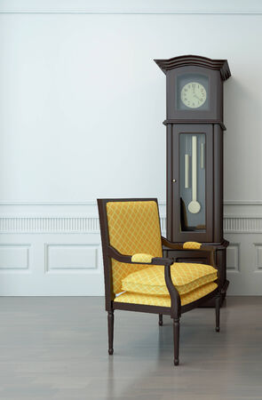 grandfather clock: Vintage interior of an empty living room with one overhung chair and a pendulum clock