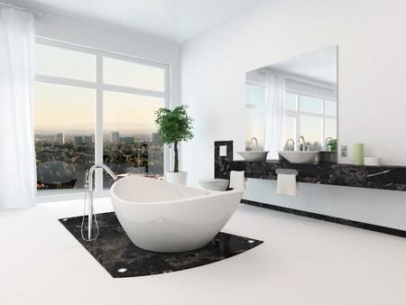 sinks: Luxury bathroom interior with nice white freestanding bathtub Stock Photo