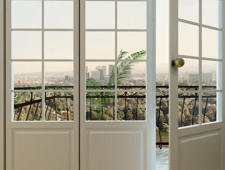 balcony door: Foto de primer plano de la puerta del balc�n con balaustrada