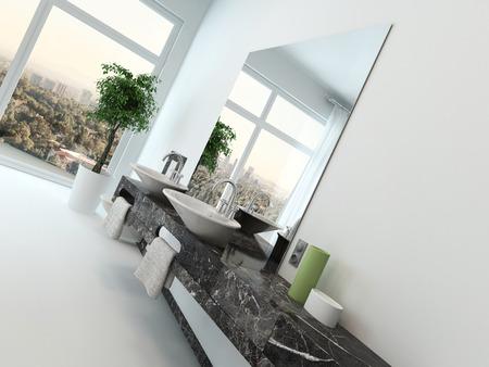 White bathroom interior with vanity and hand basin photo