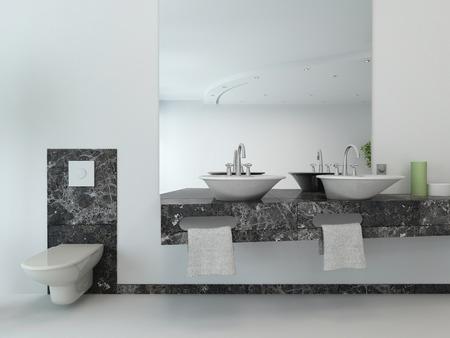White bathroom interior with vanity and hand basin photo