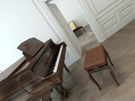 octaves: Oblique view of a vintage interior with a classical brown grand piano, an adjustable chair and an open white door towards another room