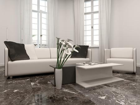 出窓、ソファ、黒い大理石の床と白いリビング ルーム interiow
