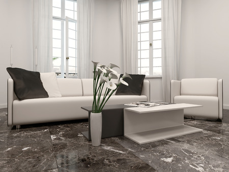 fixtures: White living room interiow with bay window, couch and black marble floor