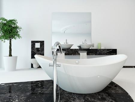 fittings: Luxury bathroom interior with nice white freestanding bathtub Stock Photo