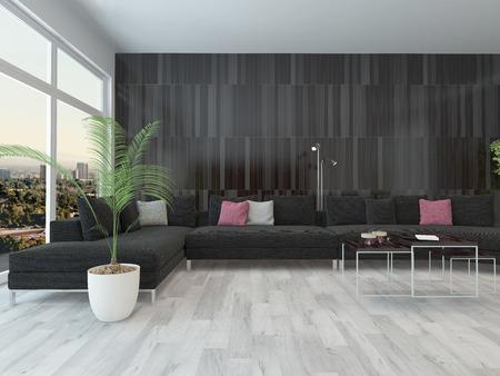 wohnzimmer innenraum mit schwarzen couch, couchtisch und dunklen