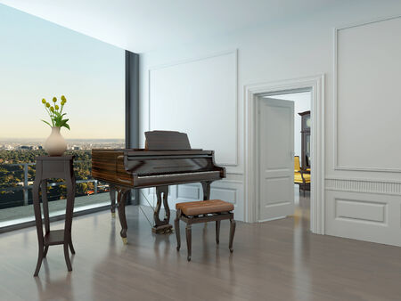 Grand piano standing in nice white room with window in background photo