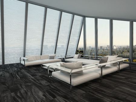 a blind: Contemporary living room interior with white modular couches and huge windows