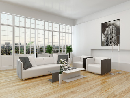Nice cottage pane interior with window and white couch photo