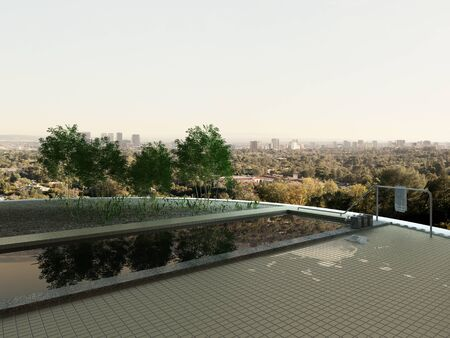 recedes: Picture of rooftop infinity pool with cityscape view Stock Photo