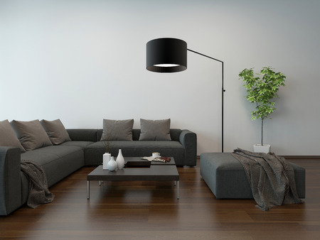 lampshade: Living room interior with gray couch, coffe table and floor lamp Stock Photo