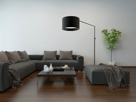 Salón interior con gris sofá, mesa de café y lámpara de pie