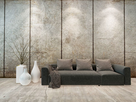 down lights: Modern minimalist sitting room interior with down lights on a grey wall above an upholstered grey sofa with ornamental vases alongside, high volume room Stock Photo