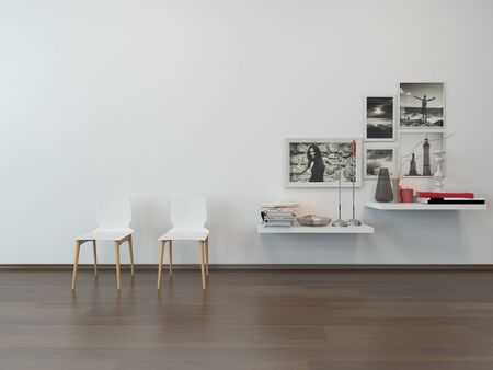 designer chair: Close-up of two white chairs against white wall and sideboard with nice decoration