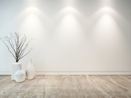 wood flooring: Empty neutral grey room with ornamental white vases and three down lights illuminating the wall, good architectural background for furniture placement Stock Photo