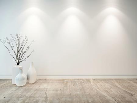 Sitio vacío gris neutro con jarrones blancos ornamentales y tres luces que iluminan hacia abajo la pared, una buena base arquitectónica para la colocación de los muebles