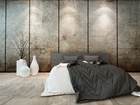bedclothes: Picture of bedroom interior with bed in front of concrete wall Stock Photo